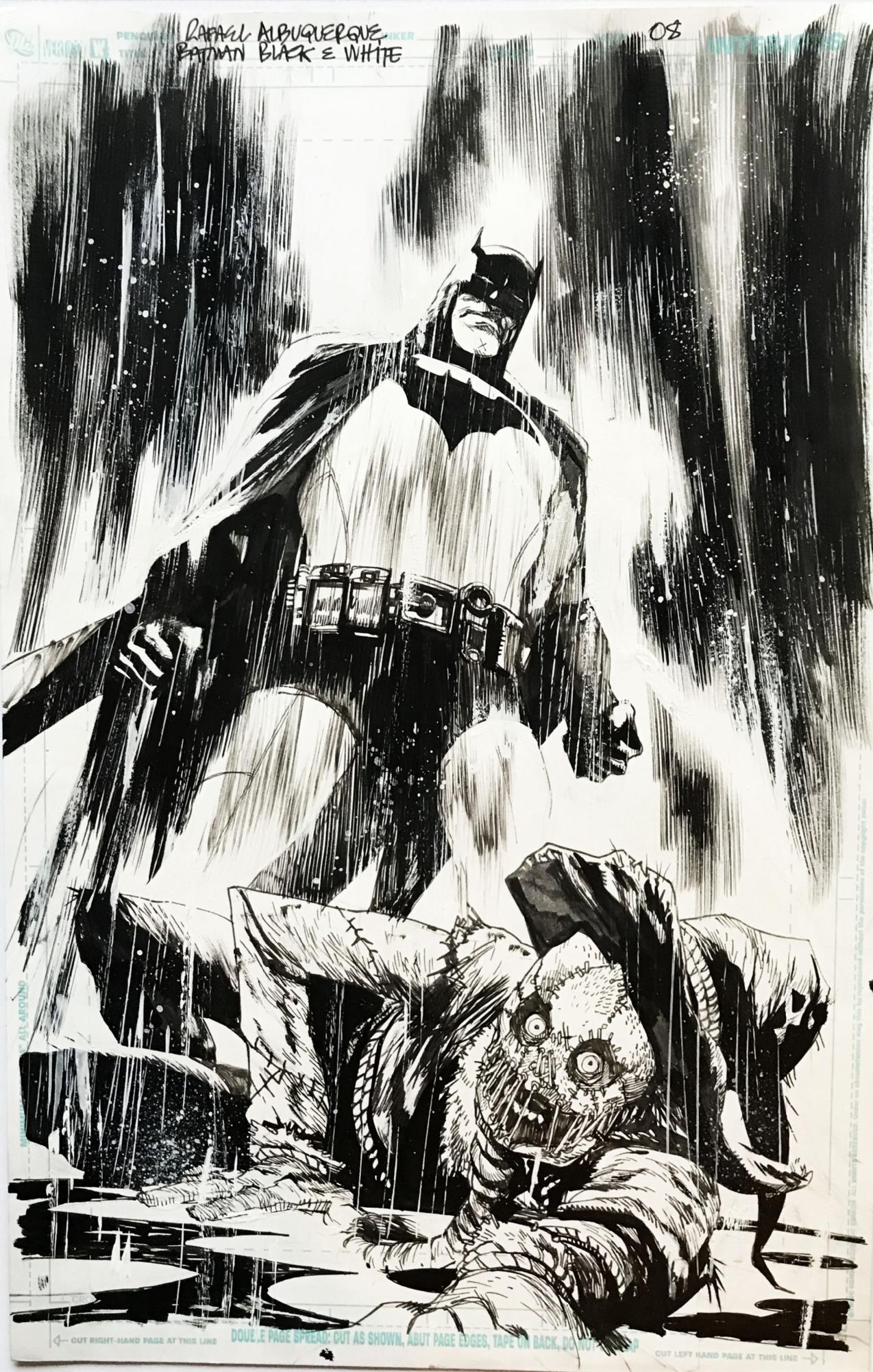 Batman black and white splash page by rafael albuquerque comic art