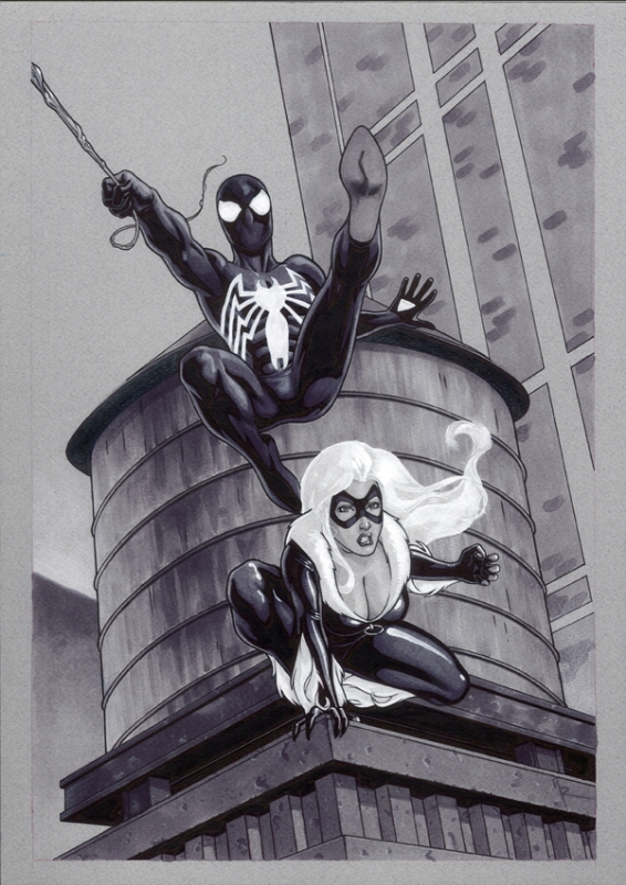 Black Spiderman and Sexy Black Cat, in Rémi Dousset's