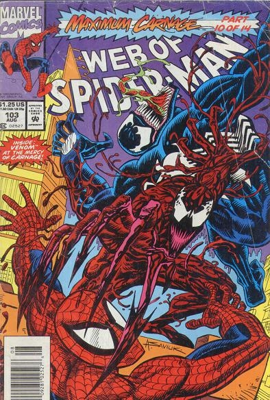 Web Of Spider Man 103 Maximum Carnage Cover Color Guide Featuring