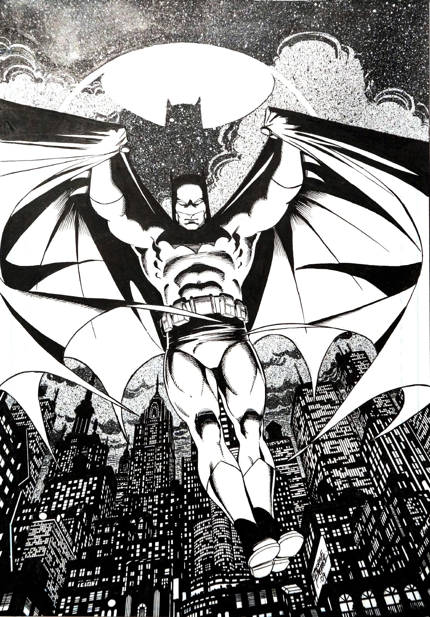 George pérez batman comic art