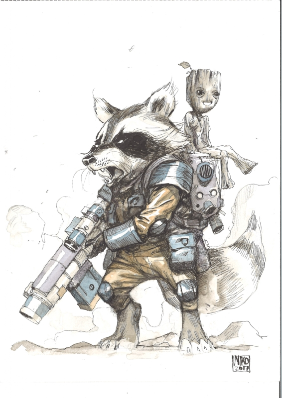 Rocket Raccoon and Baby Groot - Niko Henrichon , in Gaviin