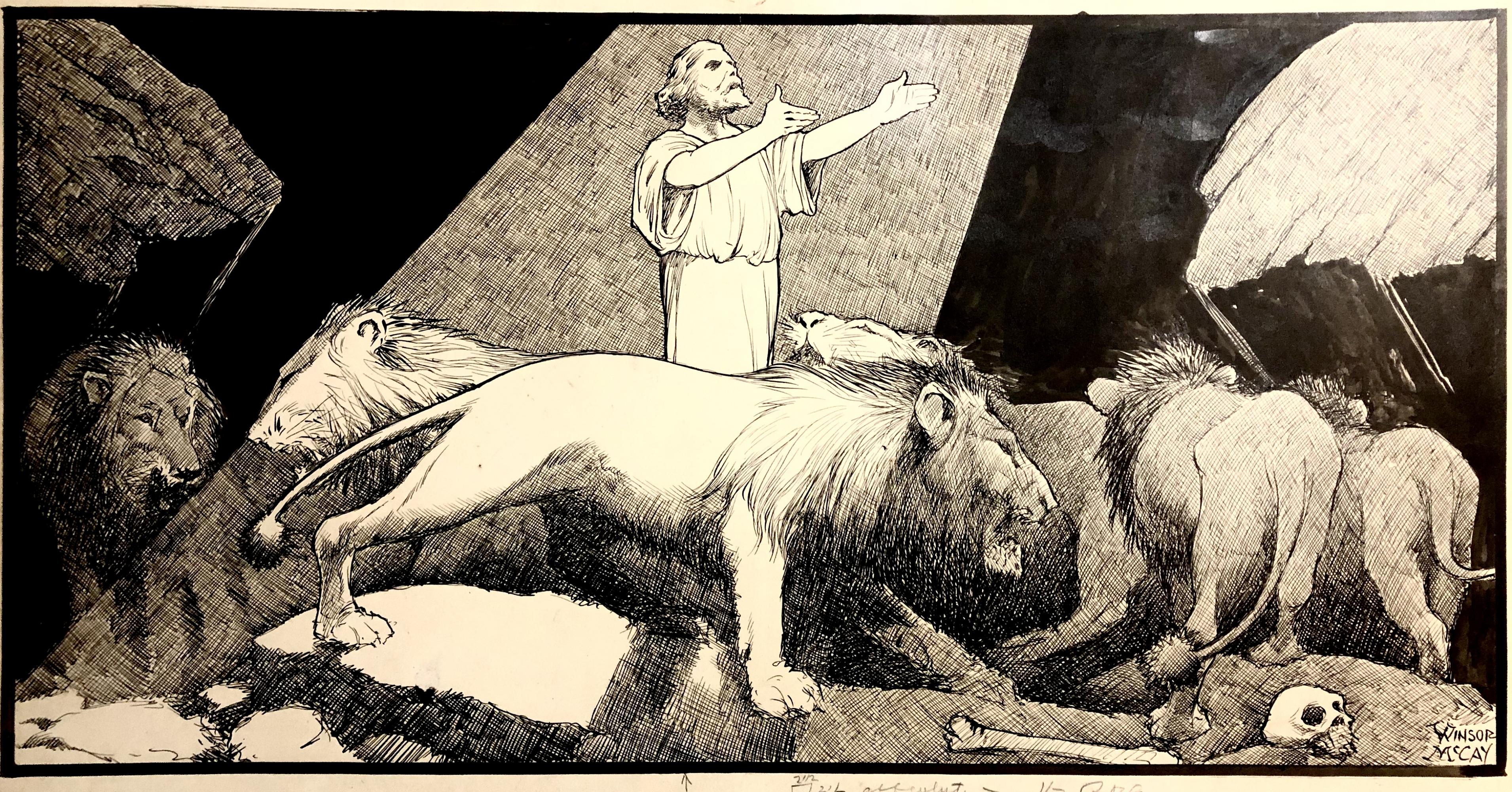 Winsor McCay— Daniel and the Lions Illustration Comic Art