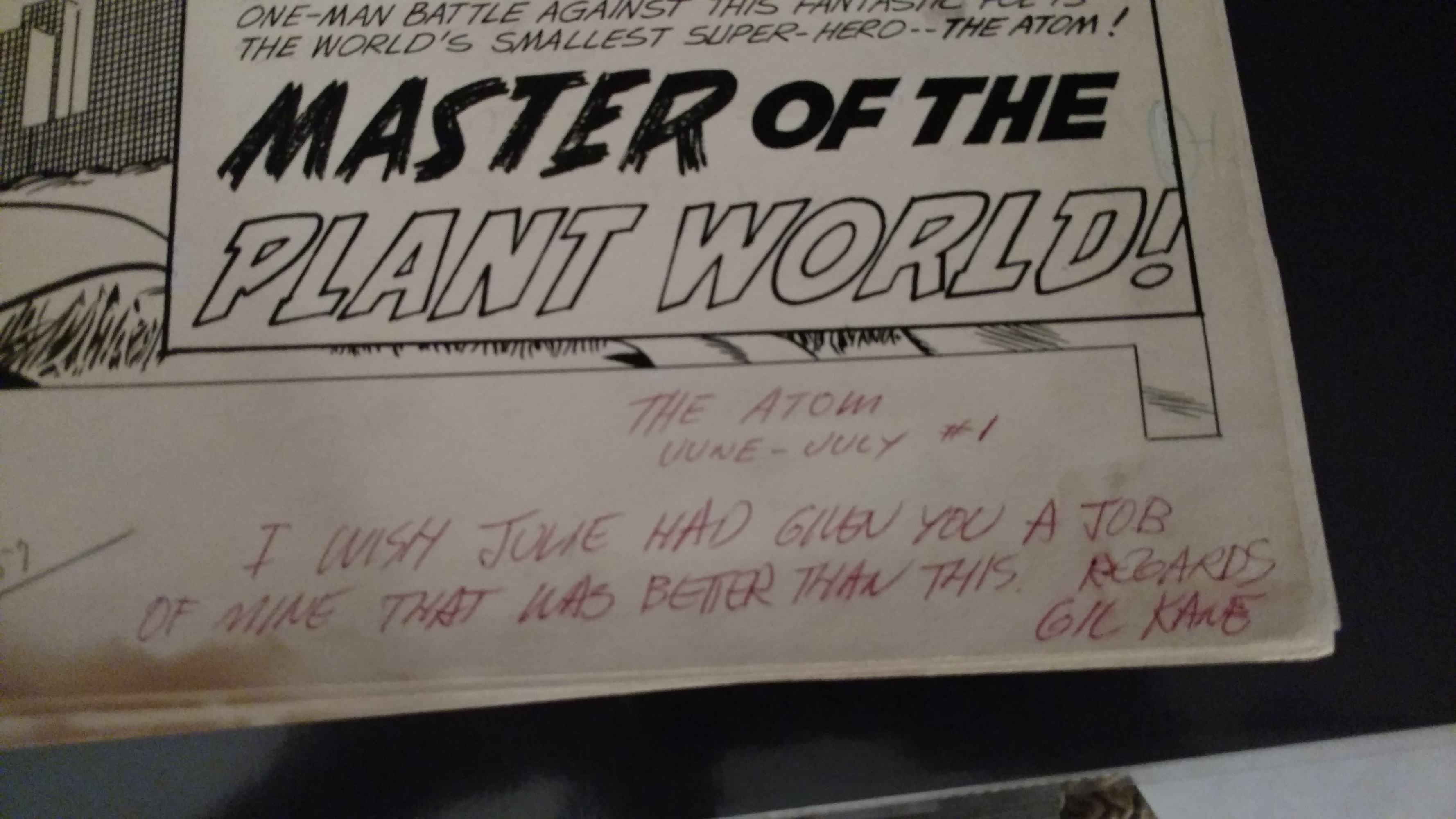 Special Note by the Master - Gil Kane to Murphy Anderson on