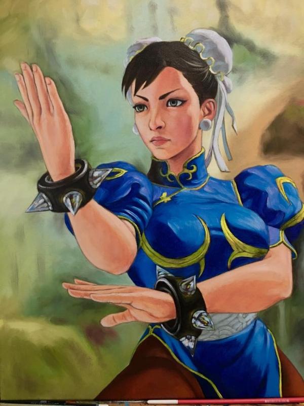 Street Fighter Chun Li Oil Painting In Manuel Polvillo