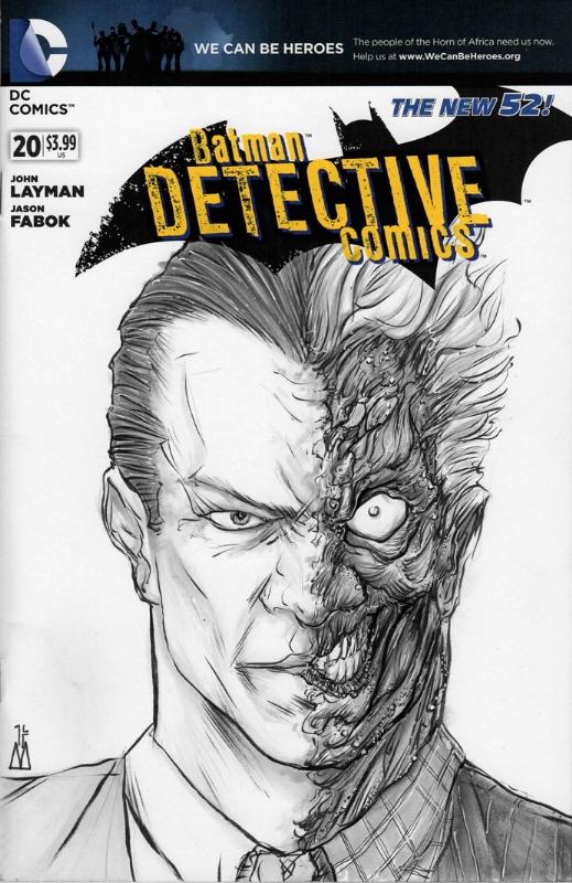 Batman Detective Comics 20 Sketch Cover Featring Two Face In David