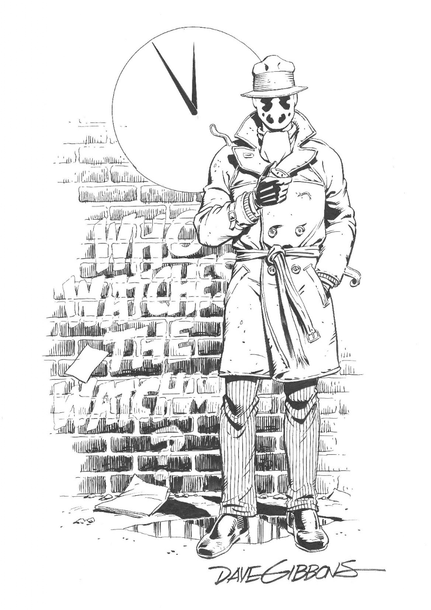 Dave Gibbons Rorschach Commission (Inked) Comic Art