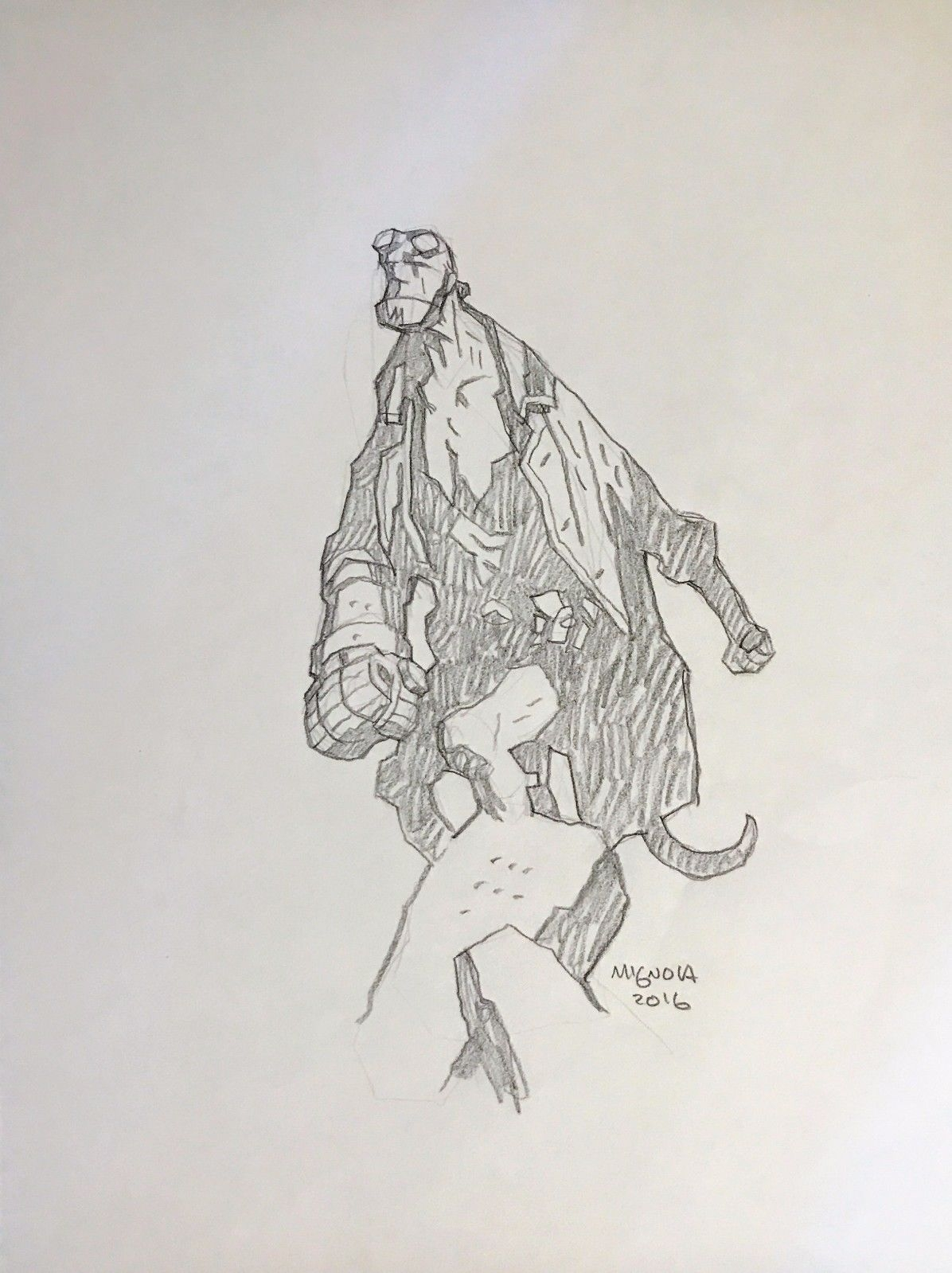 Sold hellboy pin up pencil sketch comic art