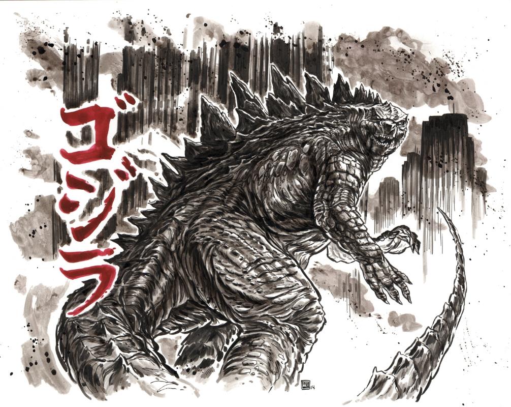 Godzilla drawing in tim shinns tim shinn commissions comic