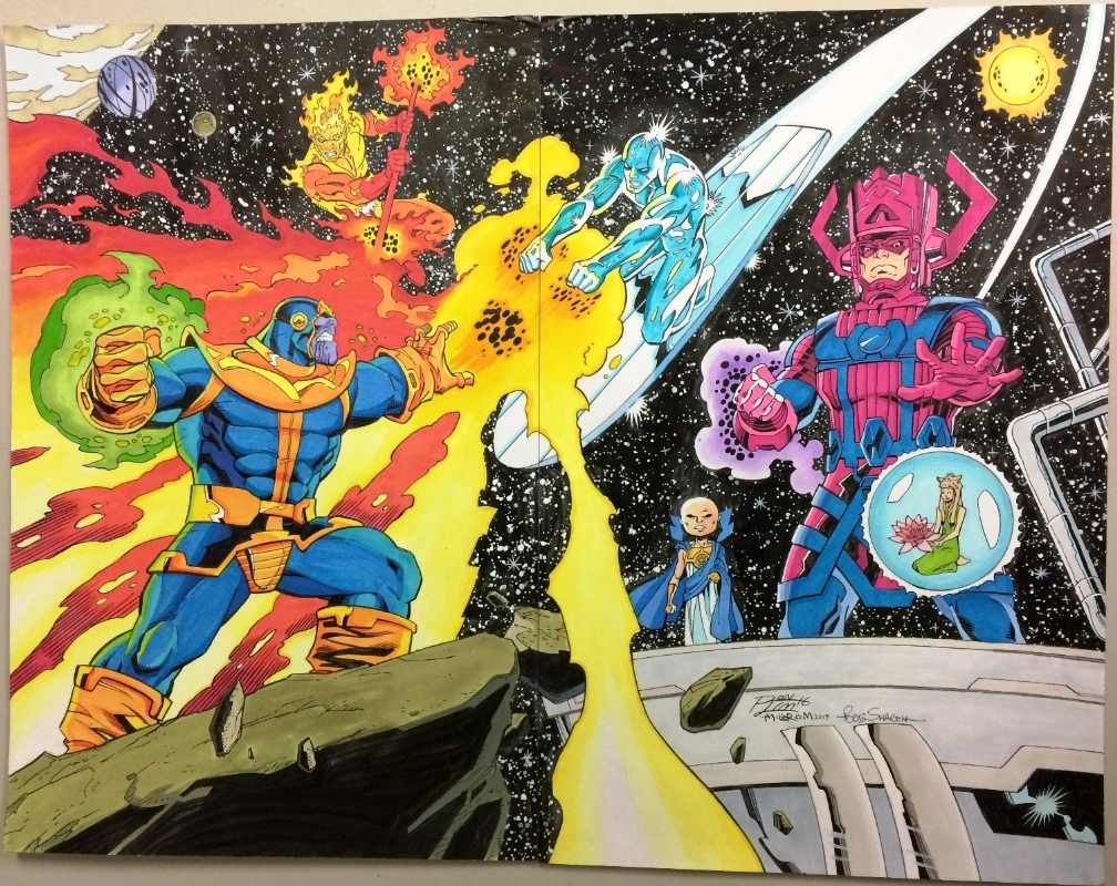 thanos vs the silver surfer and firelord by ron lim al milgrom