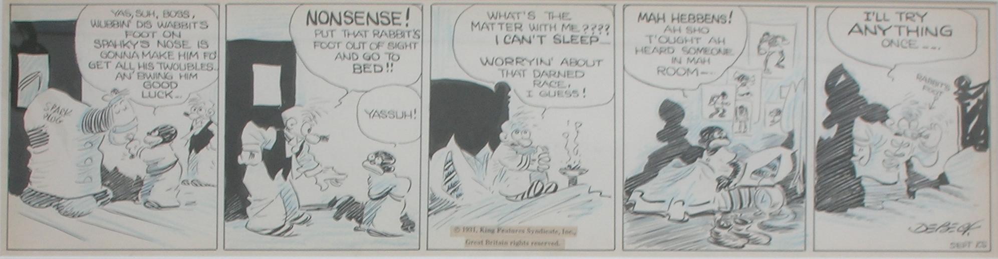 Barney Google Daily Strip 1931, in C E's Sold Art Comic Art