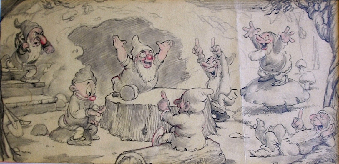Story Drawing of the Seven Dwarfs from Snow White 1937, in C