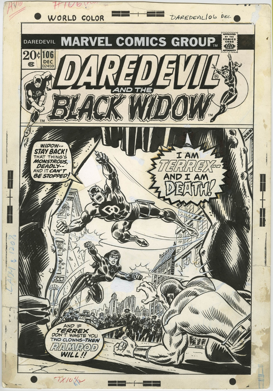 DAREDEVIL AND THE BLACK WIDOW #106 COVER ( 1973, RICH
