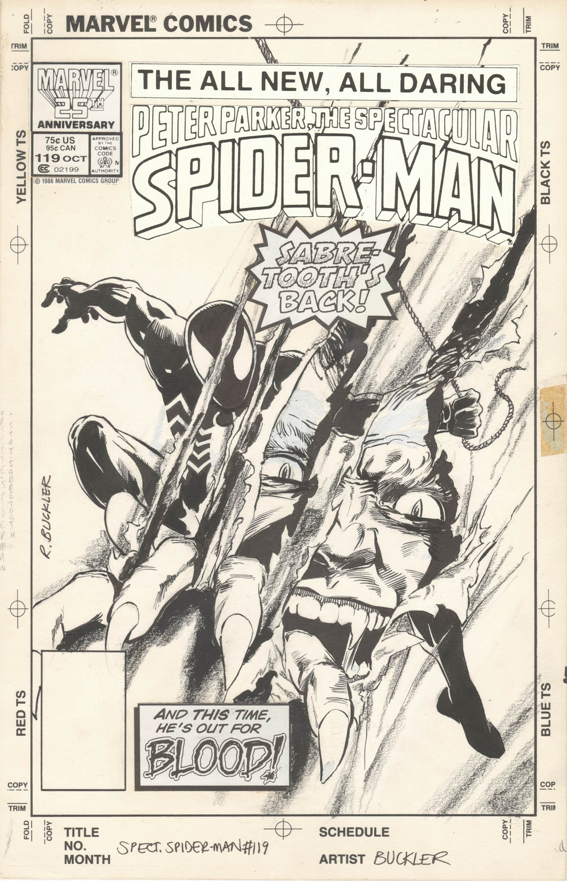 SPECTACULAR SPIDER-MAN #119 COVER ( 1986, RICH BUCKLER