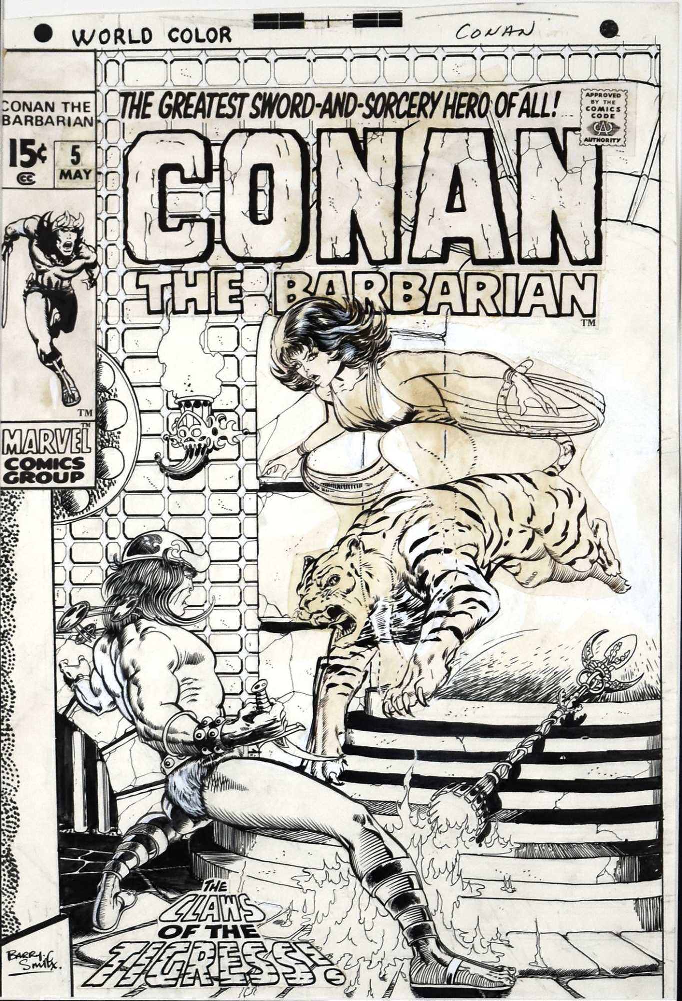 CONAN THE BARBARIAN 5 COVER 1971 BARRY WINDSOR SMITH