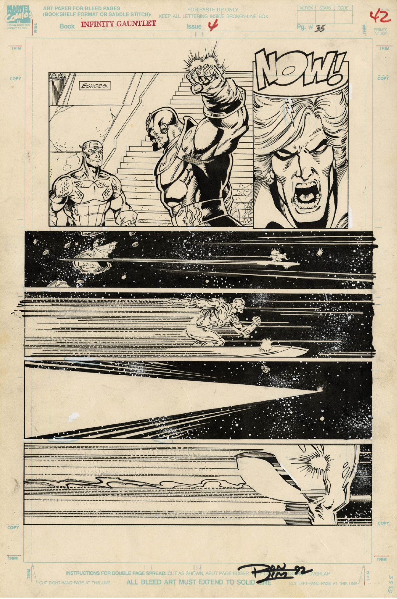 INFINITY GAUNTLET #4 PAGE ( 1991, RON LIM AND GEORGE PEREZ