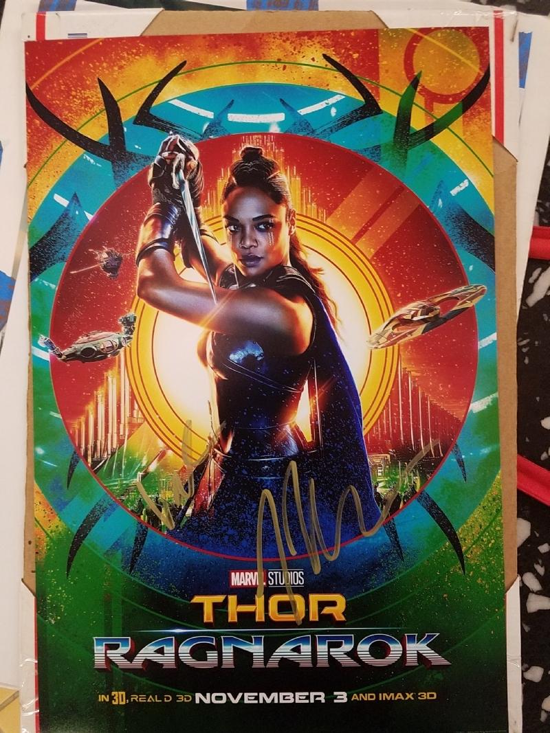 Thor Ragnarok Signed Poster Valkyrie Tess Thomphson In
