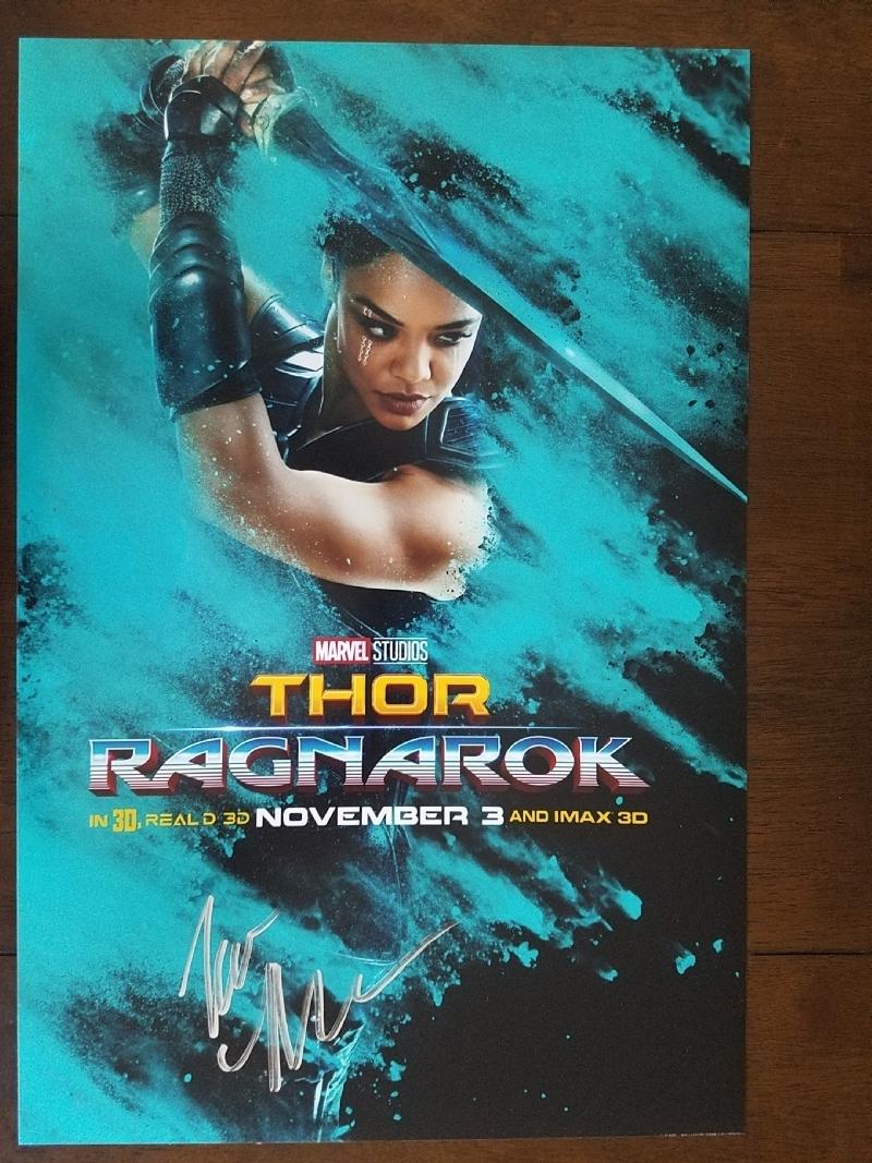 Thor Ragnarok Signed Poster Valkyrie Tessa Thompson In
