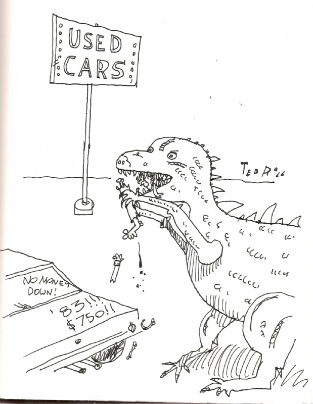 Dinosaur Eating Used Car Salesman By Ted Rall In Randy Tischler S
