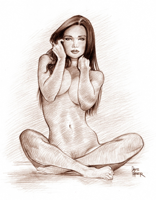 Nude Girl Sitting, In David Hoovers Art For Sale Comic -7649