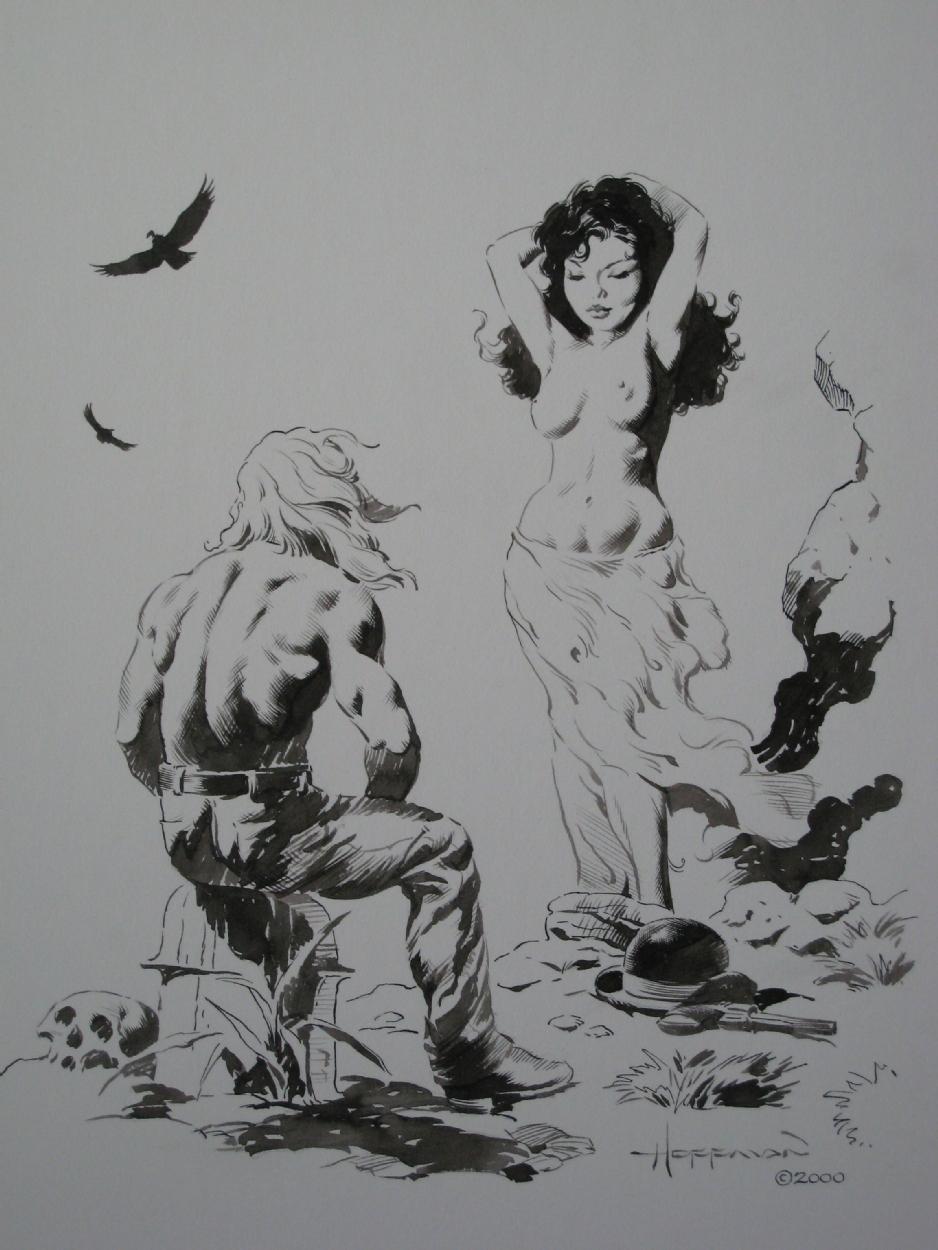 mike hoffman rendez vous original pinup portfolio plate ink art for