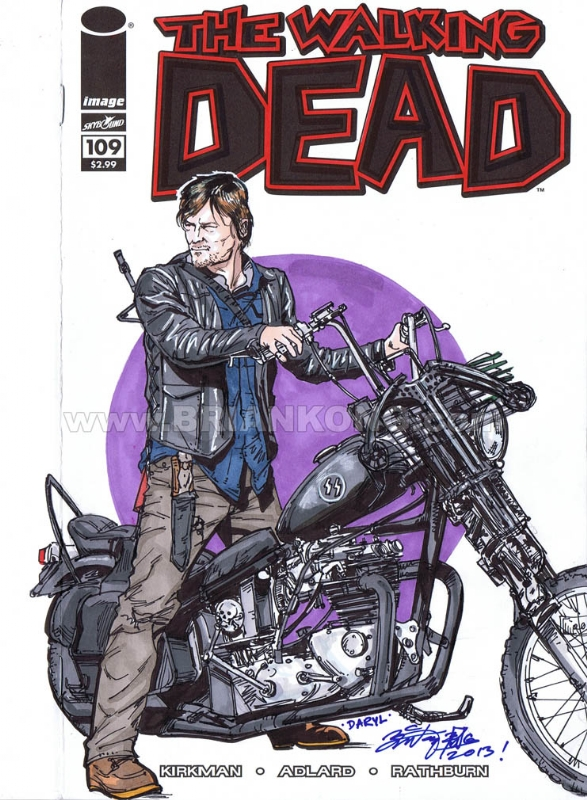 motorcycle comic pictures  The Walking Dead 109 : Blank sketch variant DARYL motorcycle, in ...