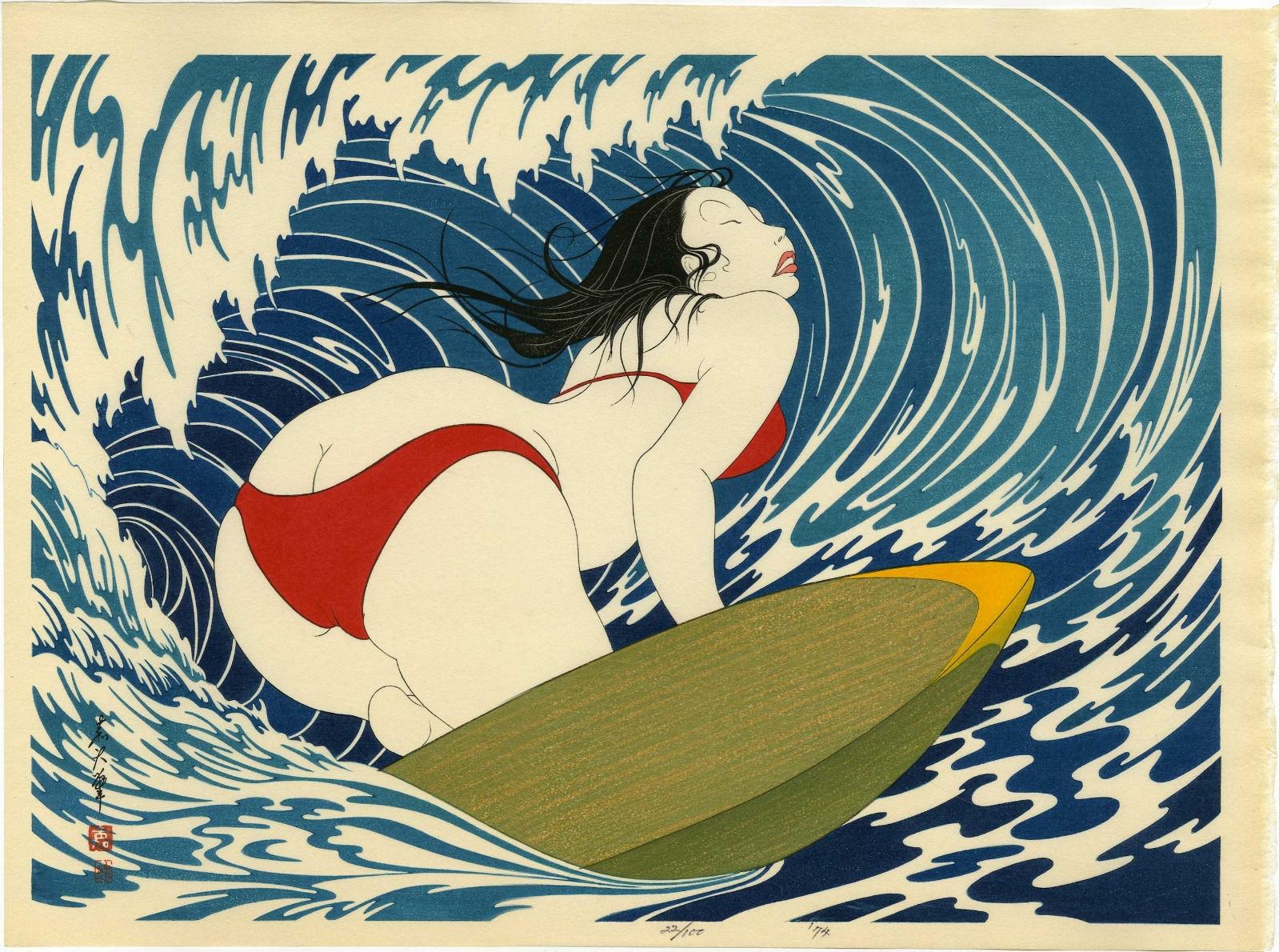 Yoshio okada surfer girl 1974 japanese woodblock print 58 100 comic art