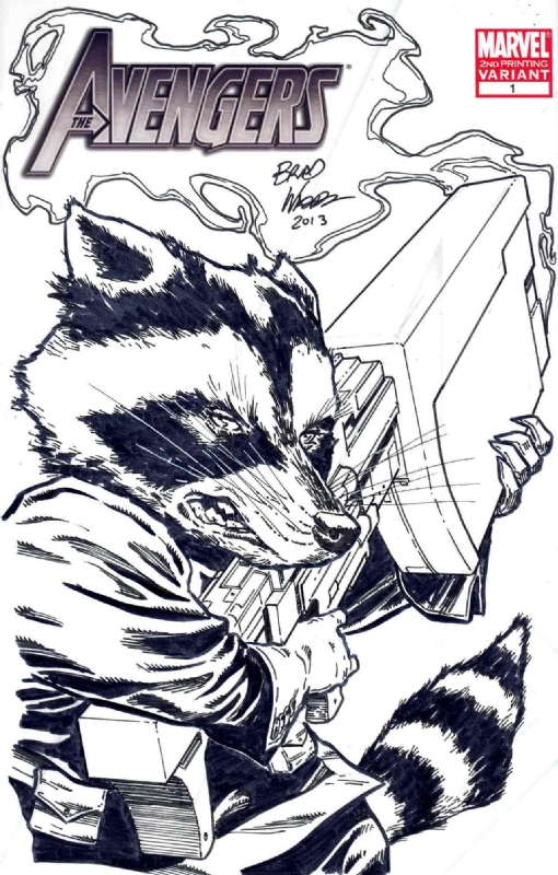 Avengers Blank - Rocket Raccoon Sketch - Brad Walker, in