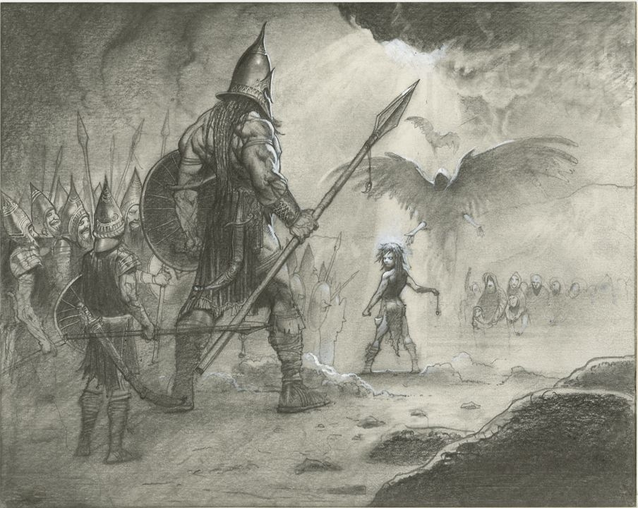 Simon Bisley Illustrations From The Bible David Goliath In