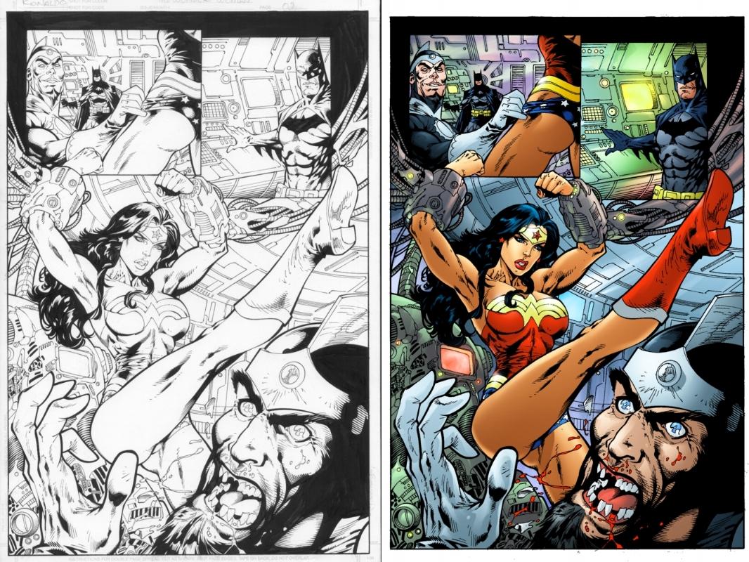 Ron Adrian Wonder Woman vs Dr Light page 2 of 2 Comic Art