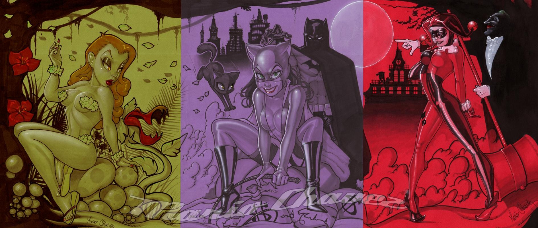 Batman Catwoman Harley Quinn Joker Poison Ivy By Mario Chavez