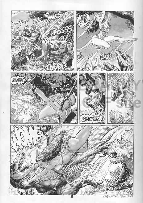 Budd Cavewoman Page See Nude On Back Of Page Comic Art