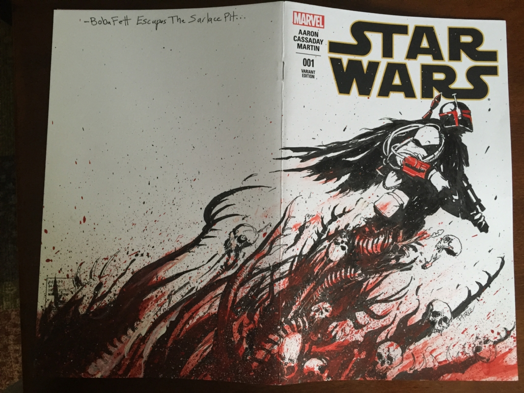 Boba Fett Escapes the Sarlacc CGC 9 8 Sketch Cover by Shane