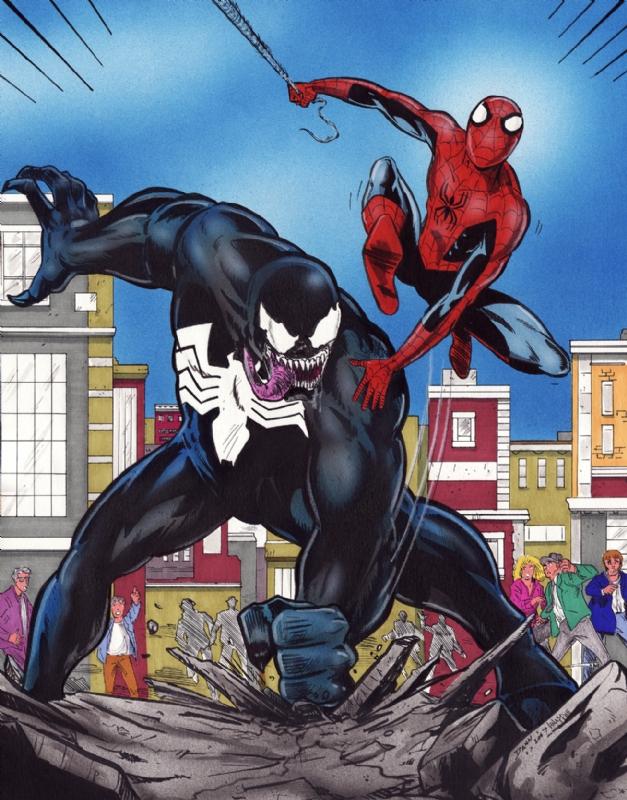 Spider Vs Venom In Nelson Knapp S Commissions Comic Art Gallery