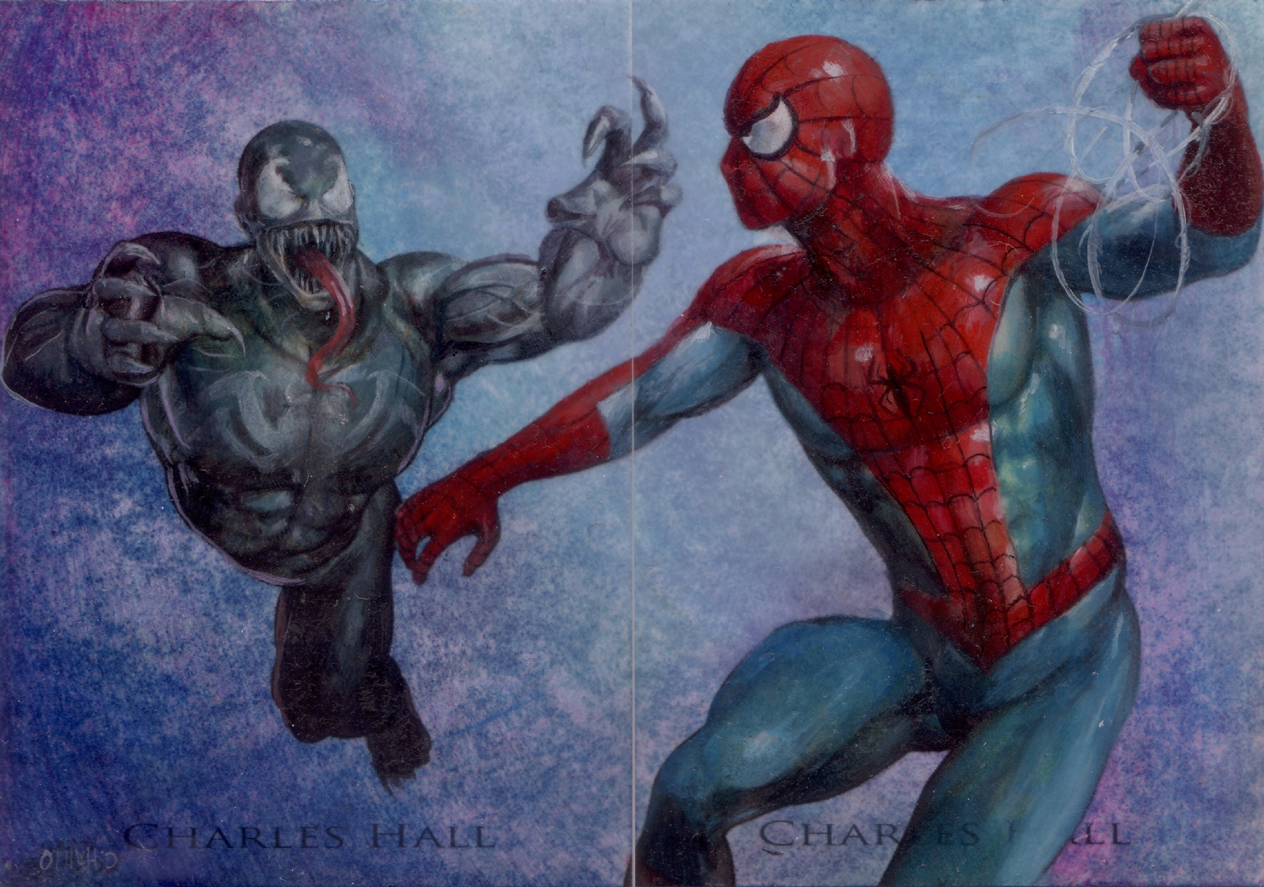 Spider Man Vs Venom Psc Painted 2 Card Sketch Card Commission By