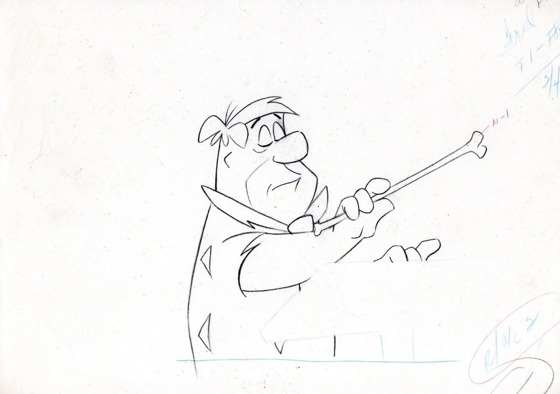 Hanna barbera the flintstones original production pencil drawing
