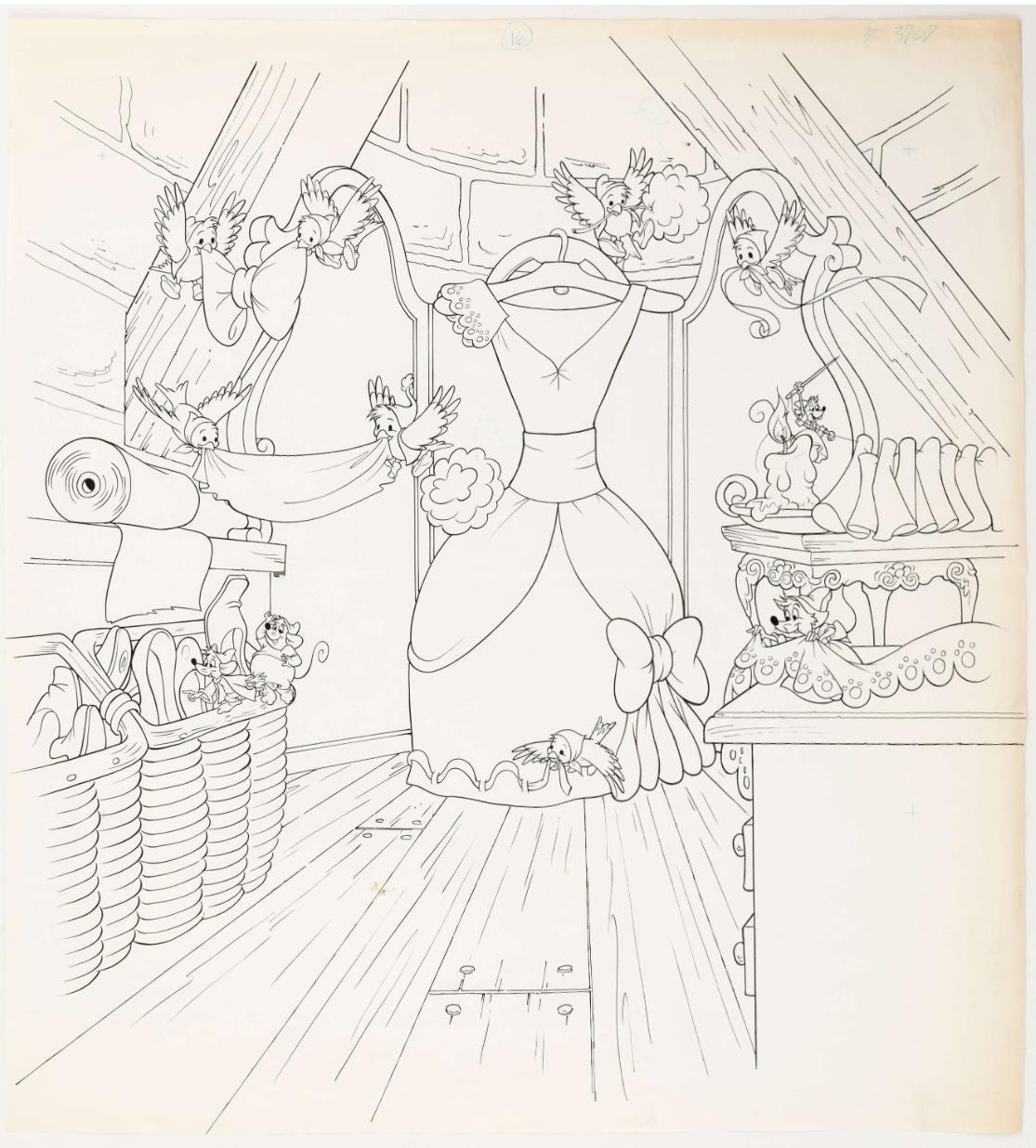 Cinderella : Gus and Jaq Dress-Making Illustration (Walt Disney, c