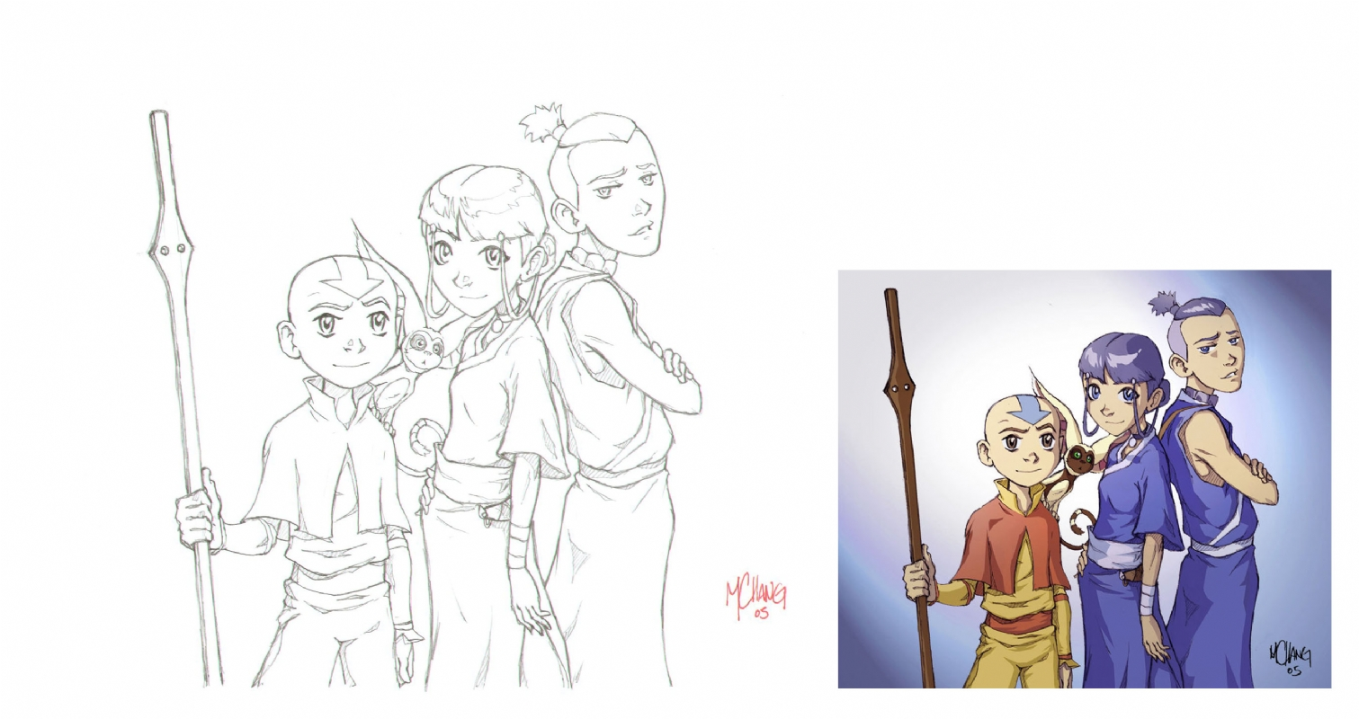 Avatar the last airbender aang gang comic art