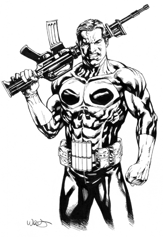 Punisher In Kevin Wests Marvel Comic Art Gallery Room
