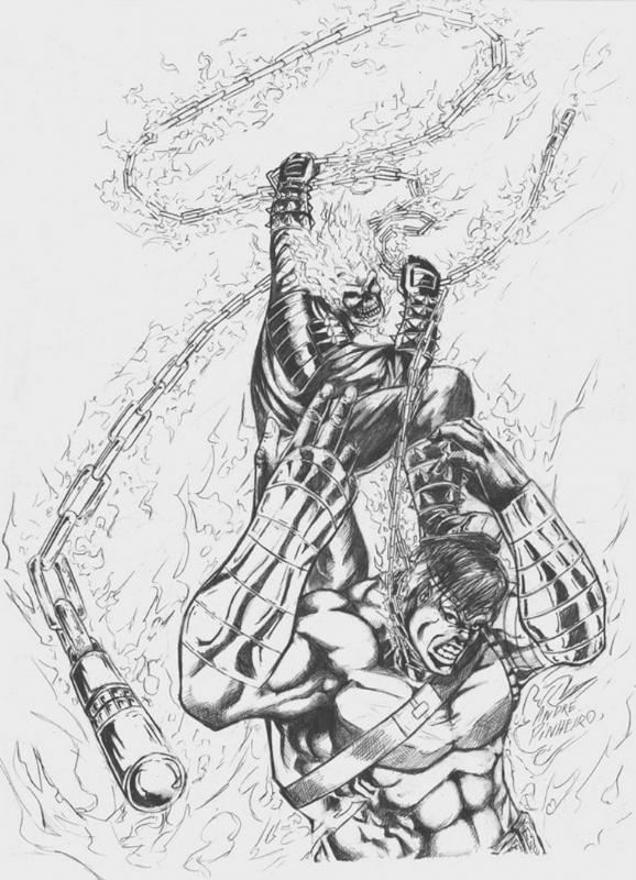 Ghost Rider Vs Hulk In Sean Rs Sold Comic Art Gallery Room