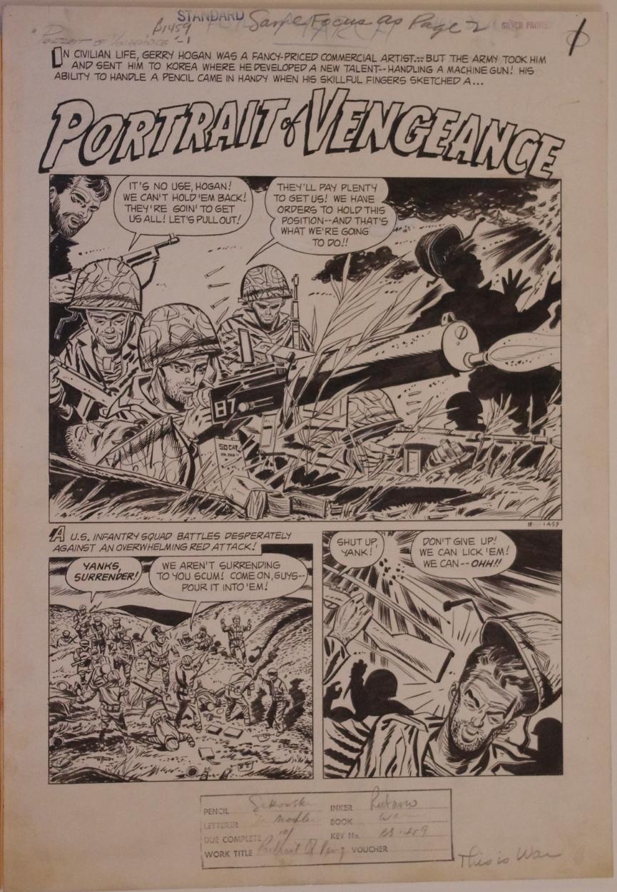 MIKE SEKOWSKY / AL RUBANO ,original art, THIS IS WAR #8, pg 1,1953
