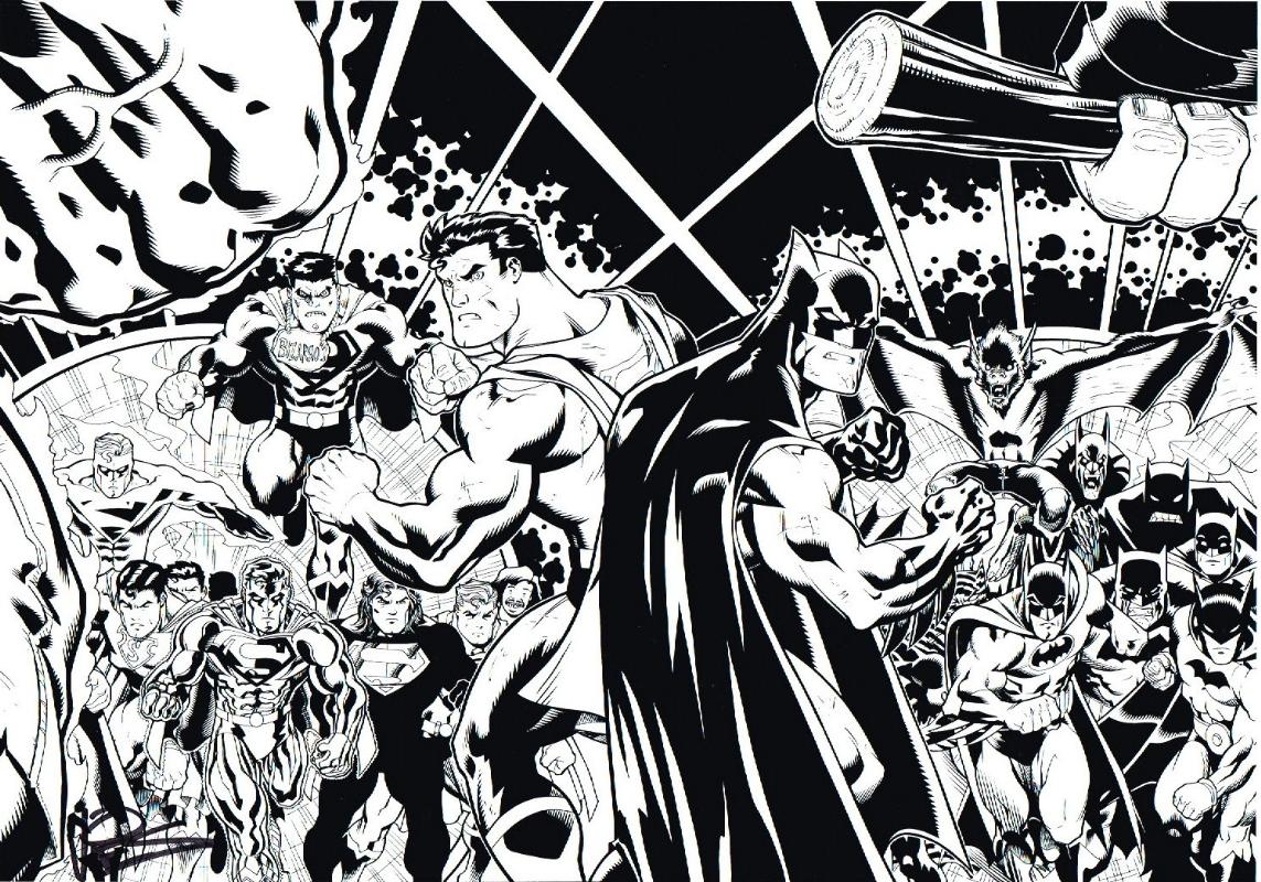 Superman and batman black white print ed mcguinness dexter vines vines signed