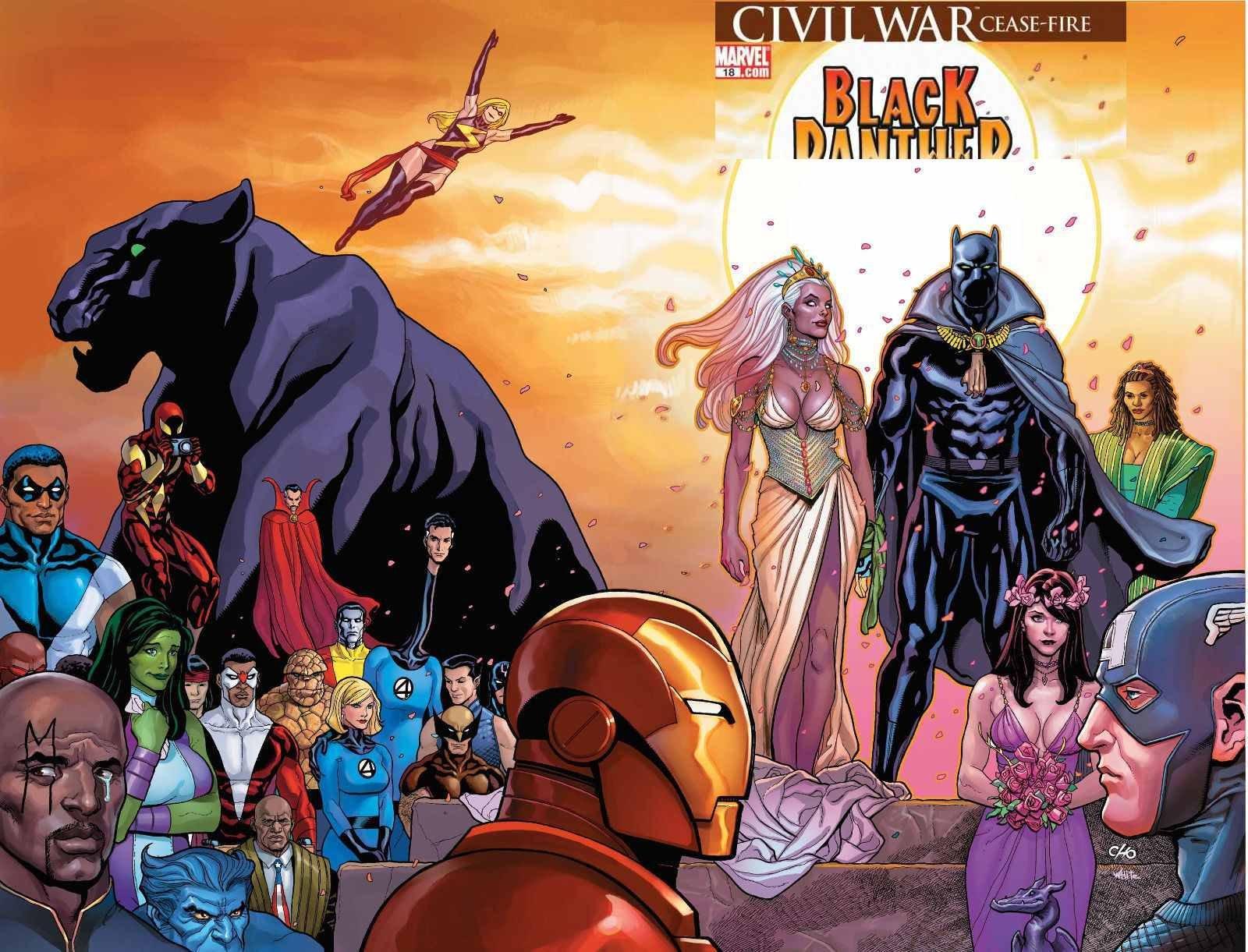 Cho Frank X Men Storm Wedding Black Panther 18 Huge Wraparound