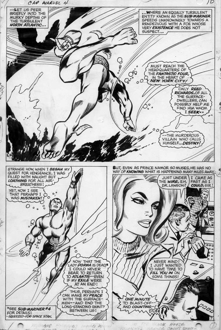 7 Muses Comics colan, gene - captain marvel #4 pg 7, three panels, large
