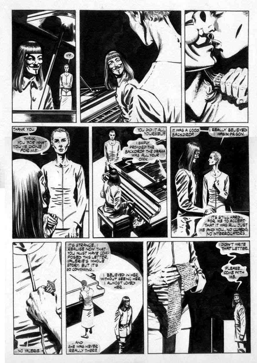 LLOYD, DAVID   V for Vendetta #7 pg 14, Eve kisses V, in Stephen