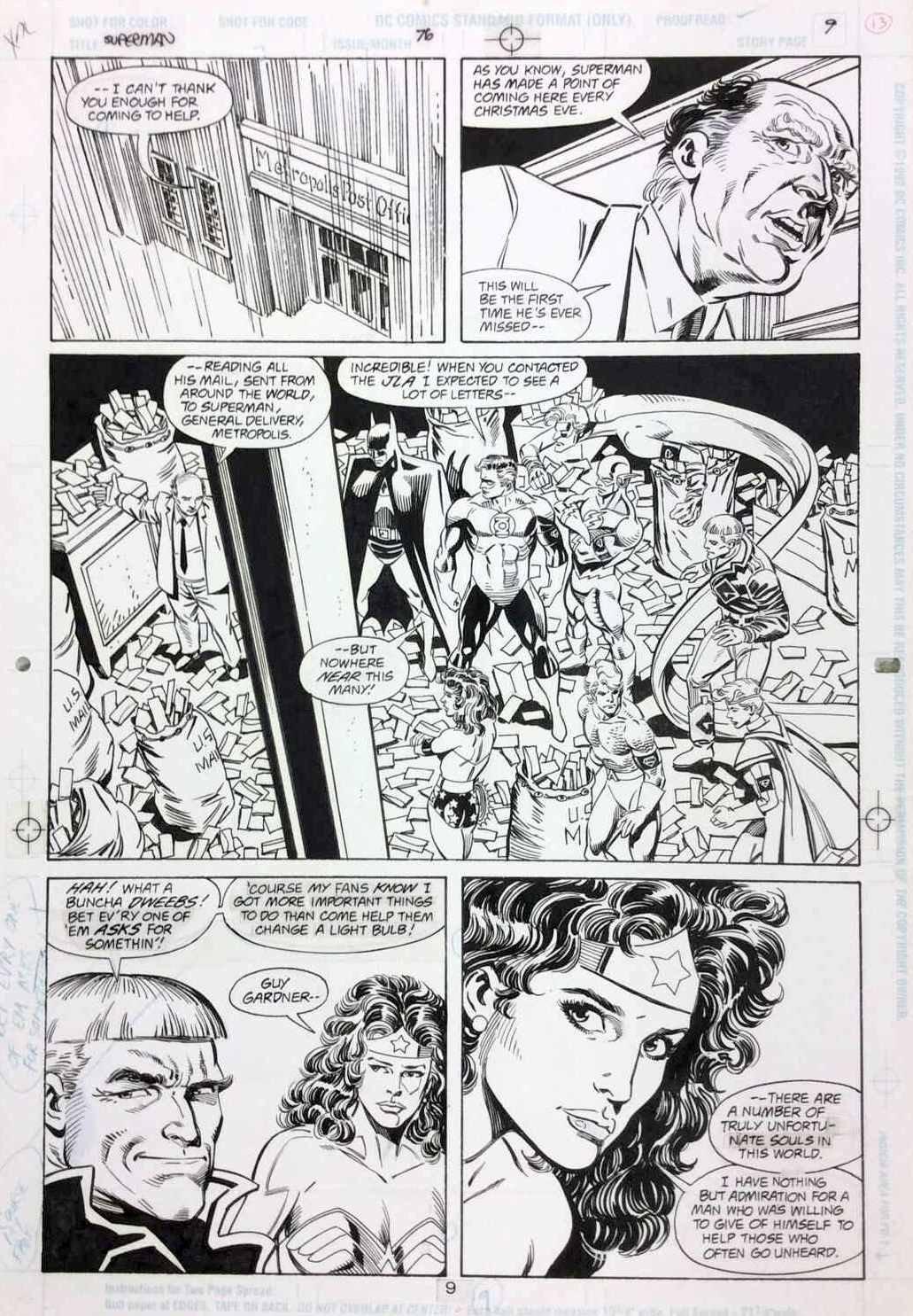 JURGENS, DAN - Superman #76 pg 9, Supes death & Funeral for Friend ...
