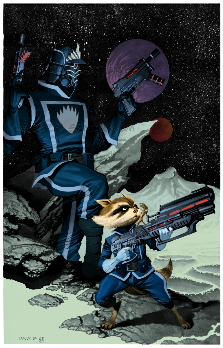 Chris Stevens Starlord, Rocket Raccoon and Groot from the
