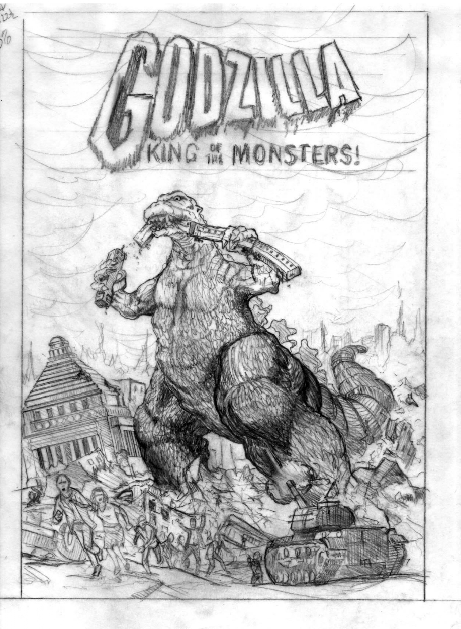 Godzilla pencil rough b in amra the lions monster mania