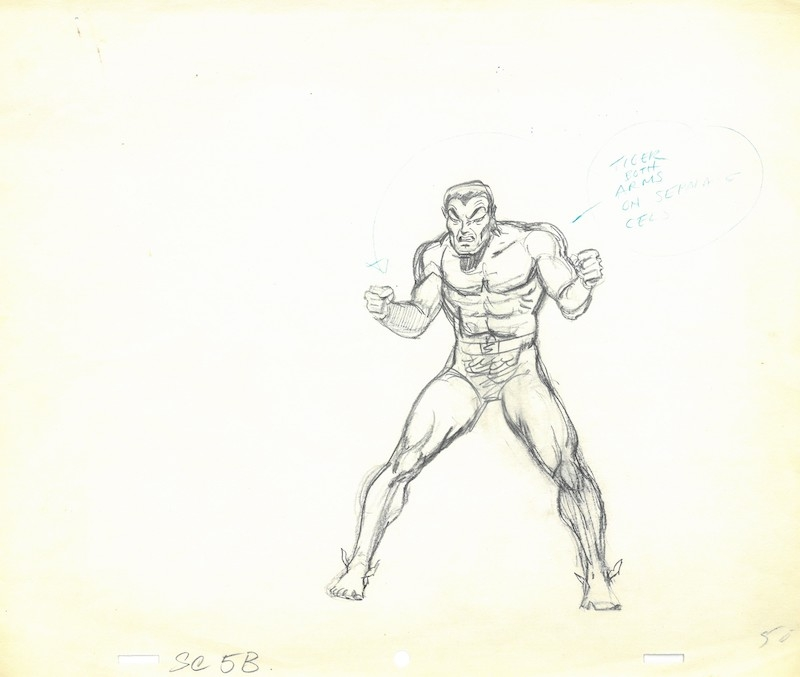 Namor The Sub Mariner Animation Cel Drawing The Marvel Super