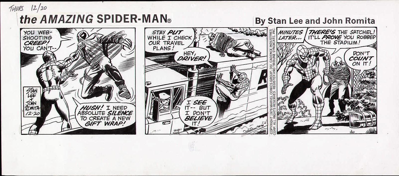 1979 AMAZING SPIDERMAN ORIGINAL NEWSPAPER COMIC STRIP ART