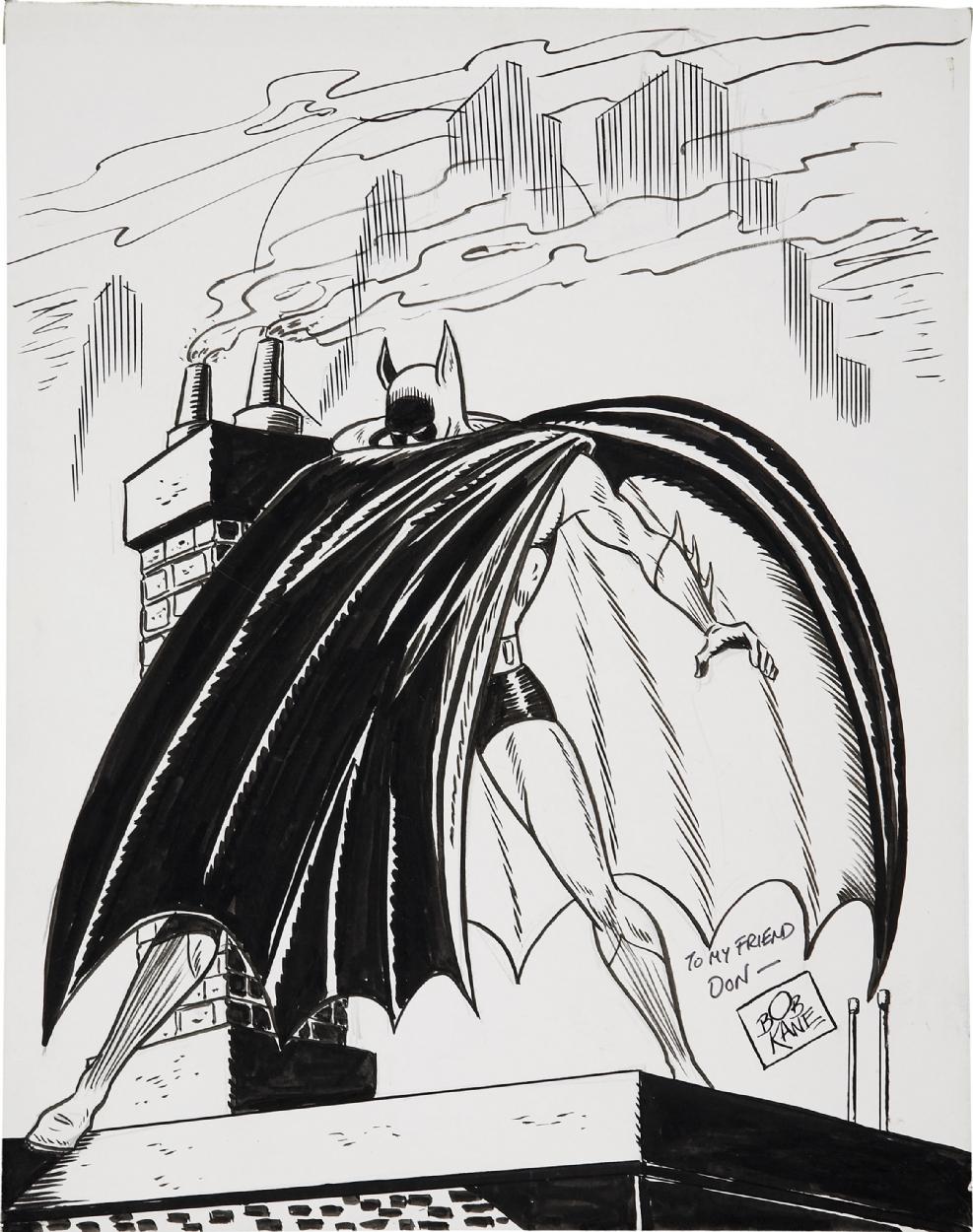 undated bob kane batman sketch comic art